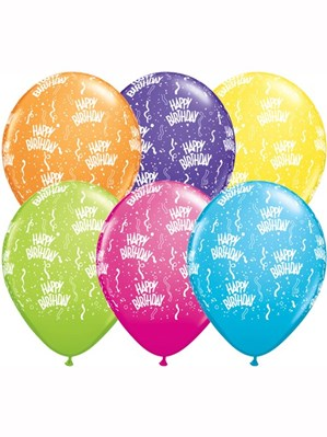"Happy Birthday Latex 11"" Balloons Tropical Assortment 50pk"
