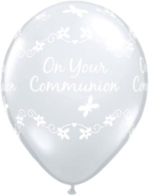 "11"" Diamond Clear Communion Latex Balloons - 50pk"