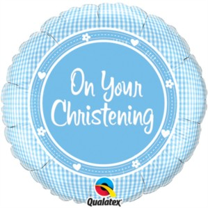 """On Your Christening Blue 18"""" Foil Balloon"""