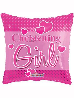 "Pink Polka Dot Christening 18"" Foil Balloon"