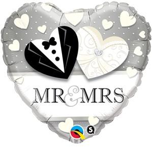 "Mr & Mrs Heart Shaped Foil Balloon 18"""