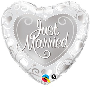 "18"" Heart Shaped Just Married Foil Balloon"