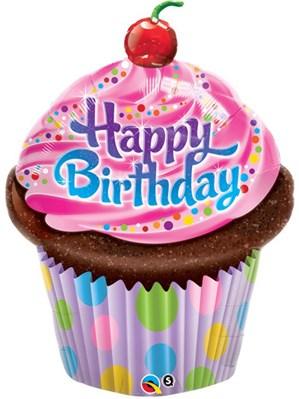 "Happy Birthday Cupcake Foil Balloon 35"""