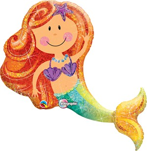 "Holographic Mermaid Supershape Foil Balloon 38"""