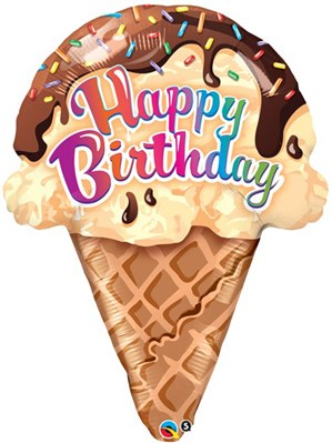 "Happy Birthday Ice Cream 27"" Supershape Balloon"