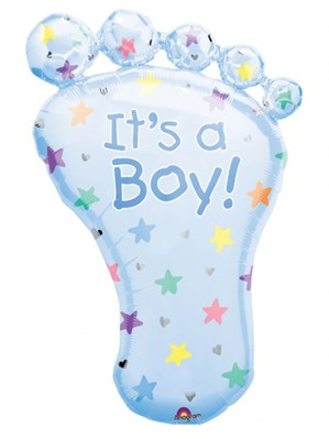 "It's a Boy Blue Foot 32"" SuperShape Foil Balloon"
