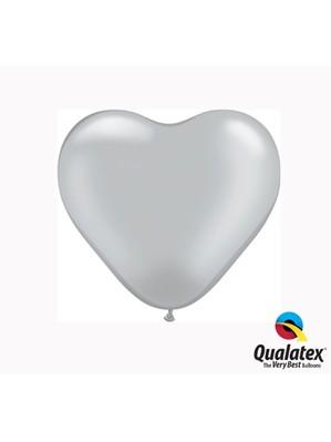 "6"" Silver Latex Heart Balloons 100pk"