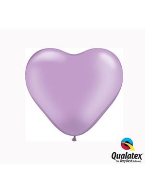 "6"" Pearl Lavender Latex Heart Balloons 100pk"