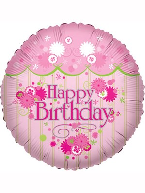 "Pink Flowers Happy Birthday 18"" Foil Balloon"