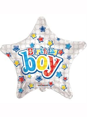 "Silver Stars and Presents Birthday Boy 18"" Foil Balloon"