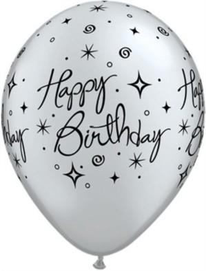 "Silver Birthday Elegant Sparkles 11"" Latex Balloons 6pk"