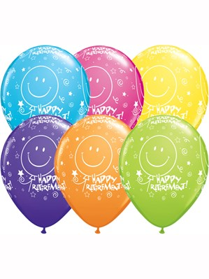 "Asst Colour Retirement 11"" Latex Balloons 6pk"