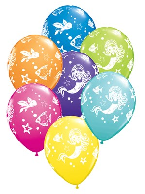 "Mermaid and Friends 11"" Latex Balloons - 25pk"