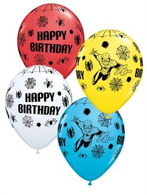 "Assorted Spiderman Happy Birthday 11"" Latex Balloons 25pk"