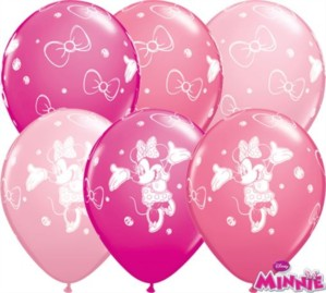 "Minnie Mouse Assorted Pink 11"" Latex Balloons 25pk"