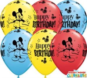 """Mickey Happy Birthday 11"""" Latex Balloons 25pk"""