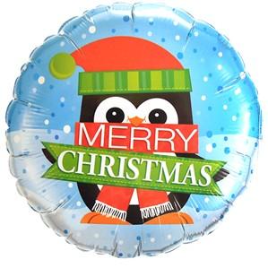 """Merry Christmas Penguin 18"""" Foil Balloon"""