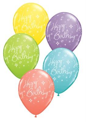 "Assorted Birthday Shining Star 11"" Latex Balloons 25pk"
