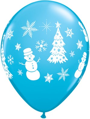 "Christmas Snowman 11"" Latex Balloons 6pk"