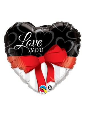 """Valentine's Day I Love You Red Ribbon 18"""" Foil Balloon"""