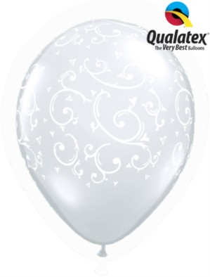 """Diamond Clear Filigree & Hearts 11"""" Latex Balloons 50pk"""