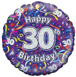 "18"" 30th Birthday Streamers Holographic Foil Balloon"
