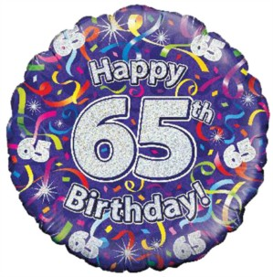 """18"""" 65th Birthday Streamers Holographic Foil Balloon"""