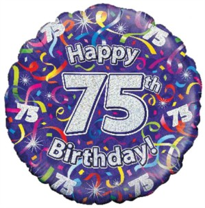 """18"""" 75th Birthday Streamers Holographic Foil Balloon"""