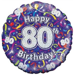 """18"""" 80th Birthday Streamers Holographic Foil Balloon"""