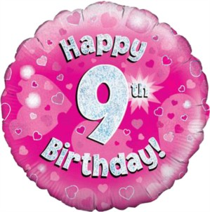 """18"""" 9th Birthday Pink Holographic Foil Balloon"""