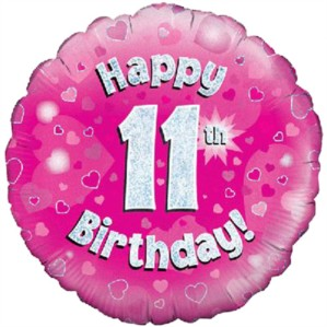 "18"" 11th Birthday Pink Holographic Foil Balloon"