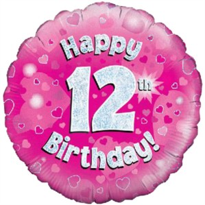 """18"""" 12th Birthday Pink Holographic Foil Balloon"""