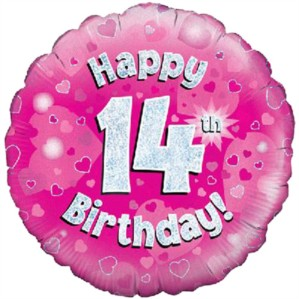 """18"""" 14th Birthday Pink Holographic Foil Balloon"""