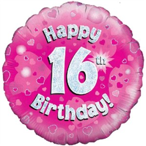 """18"""" 16th Birthday Pink Holographic Foil Balloon"""