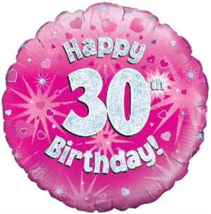 """18"""" 30th Birthday Pink Holographic Foil Balloon"""