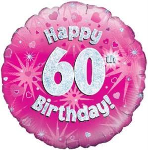 "18"" 60th Birthday Pink Holographic Foil Balloon"