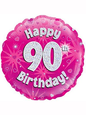 """18"""" 90th Birthday Pink Holographic Foil Balloon"""