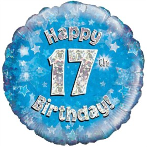"""18"""" 17th Birthday Blue Holographic Foil Balloon"""