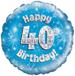 """18"""" 40th Birthday Blue Holographic Foil Balloon"""
