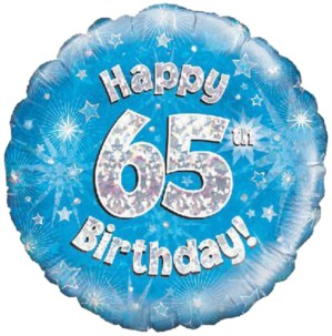 """18"""" 65th Birthday Blue Holographic Foil Balloon"""