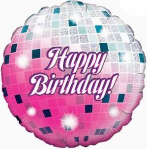 "Happy Birthday Glitterball Holographic Foil Balloon 18"""