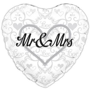 "Heart Shaped Mr & Mrs 18"" Foil Balloon"