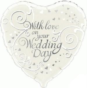 "18"" Wedding Day Love Heart Foil Balloon"