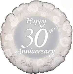 """30th Anniversary 18"""" Foil Balloon"""