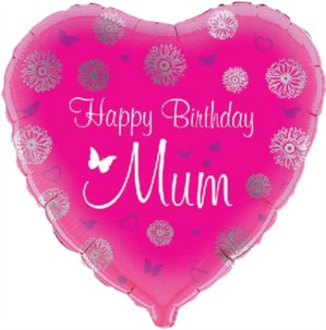 "18"" Happy Birthday Mum Foil Heart Balloon"