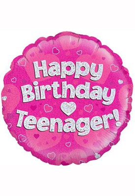 "Happy Birthday Teenager Pink 18"" Foil Balloon"