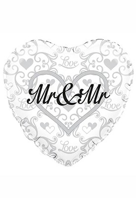 "Heart Shaped Mr & Mr 18"" Foil Balloon"