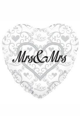 "Heart Shaped Mrs & Mrs 18"" Foil Balloon"