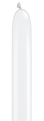"160Q (1"" x 60"") Pearl White Latex Modelling Balloons 100pk"