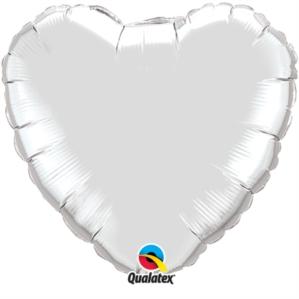 """Platinum Silver 18"""" Heart Foil Balloon Pkgd"""
